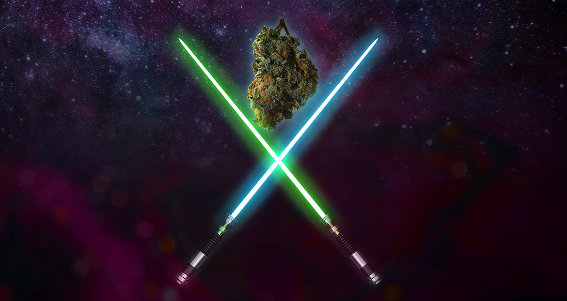 Two light sabers crossed over a nug of lightsaber strain cannabis