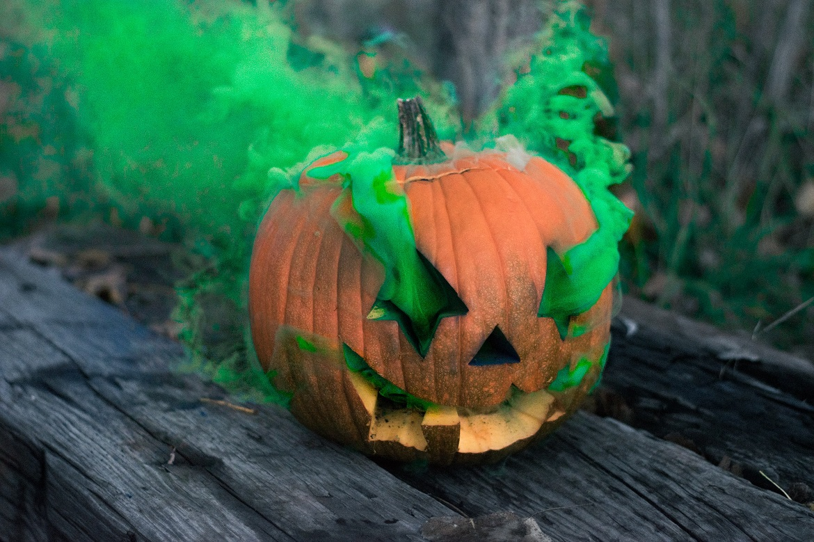 A pumpkin smoking on some Halloween themed weed strains