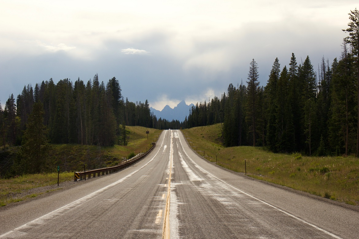 An empty road in Wyoming